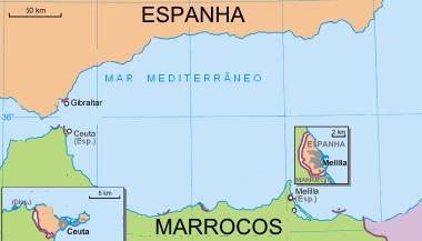 Mapa de maior escala com a localização de Ceuta e Melilla ¹
