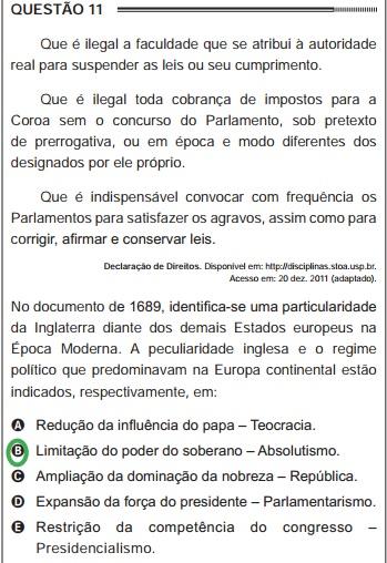 """Questão do Enem de 2012 que abordou o documento """"Declaração dos Direitos (Bill Of Rights)"""""""