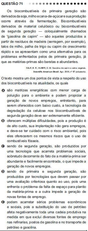 Questão 71 do Enem 2011 no caderno azul