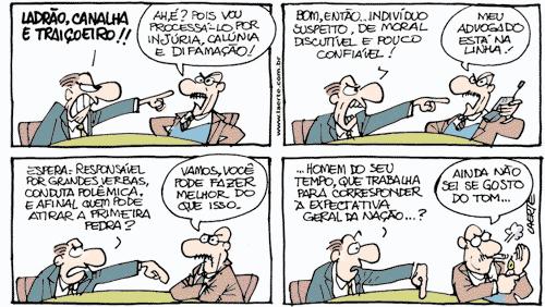 O cartunista recorreu aos recursos expressivos da linguagem para conferir humor à tirinha