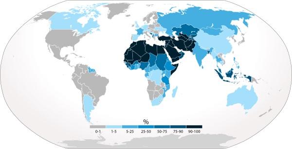 Mapa dos países islâmicos pelo mundo ²