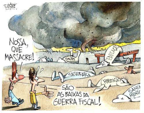 Charge crítica de Edgar Vasques à Guerra Fiscal no Brasil *