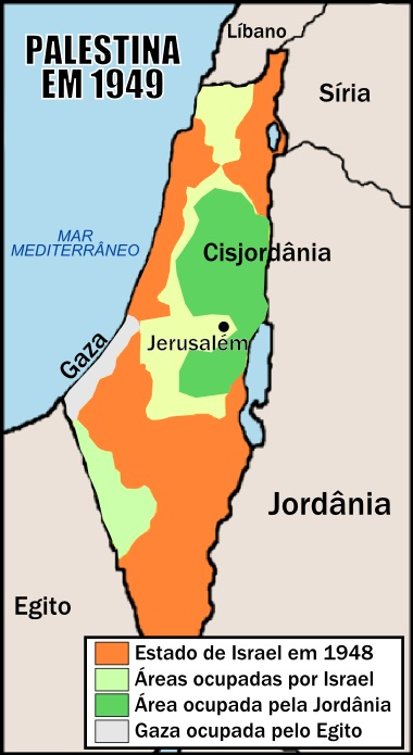 Mapa da região da Palestina após a Primeira Guerra Árabe-israelense