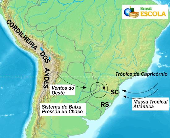 Mapa esquemático dos tornados em Santa Catarina
