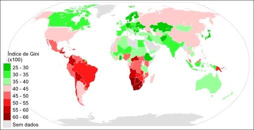Mapa-múndi regionalizado com base no Índice de Gini **