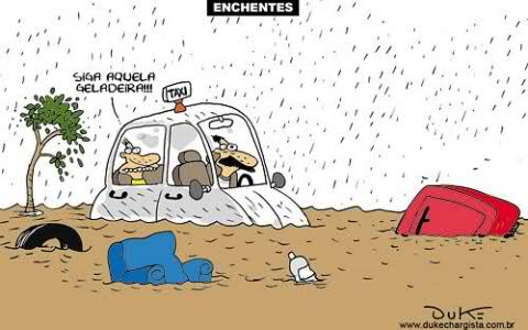 Charge sobre o problema das enchentes urbanas