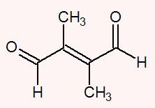 Ambos os carbonos da dupla apresentam os ligantes carbonila (COH) e metil (CH3)