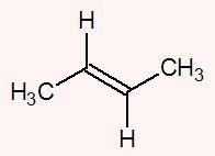 Ambos os carbonos da dupla apresentam os ligantes hidrogênio (H) e metil (CH3)