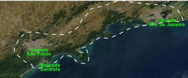 Localização da Megalópole Rio-São Paulo, na região Sudeste do país