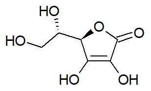 Estrutura química do ácido ascórbico