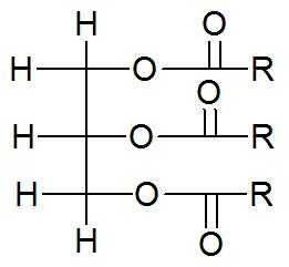 Fórmula estrutural geral de um triacilglicerídeo