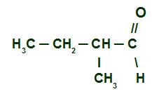 Fórmula estrutural do 2-metil Butanal