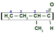 Numeração da cadeia principal do 2-metil Butanal