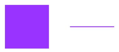 Figura da esquerda: vista superior de um quadrado. Figura da direita: vista lateral de um quadrado
