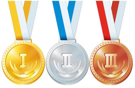 A premiação olímpica é feita com três tipos de medalhas: ouro, prata e bronze