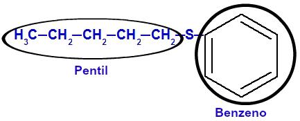 Identificação dos radicais maior e menor do tioéter 2