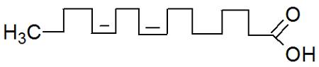 Fórmula estrutural do ácido linoleico