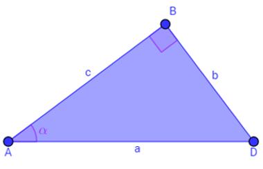 Triângulo retângulo, com destaque para o ângulo α
