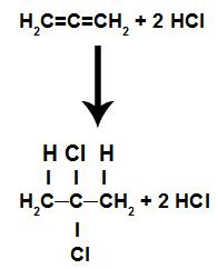 Equação representando a adição por haleto de ácido de um alcadieno