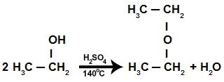 Equação da reação de eliminação intermolecular do etanol