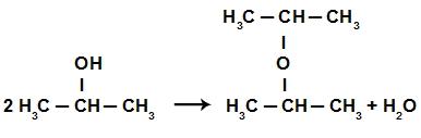 Criação do éter na reação de eliminação do propan-2-ol