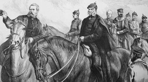 Rei da Prússia no campo de batalha com seus generais