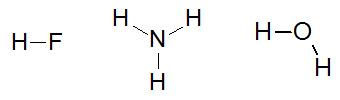 Fórmulas estruturais as substâncias ácido fluorídrico, amônia e água