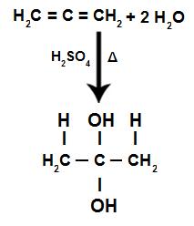 Equação da reação de hidratação de alcadieno acumulado