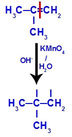 Quebra da ligação pi entre os carbonos 1 e 2 no 2-metil-propeno