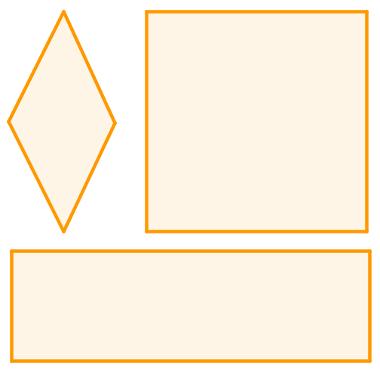 Exemplo de losango, quadrado e retângulo