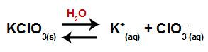 Equação de dissociação do clorato de potássio