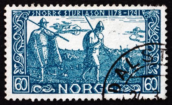Selo norueguês em homenagem ao aniversário de 700 anos da morte de Snorri Sturluson **