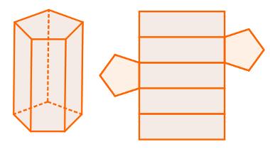 Planificação mais usual de prisma de base pentagonal