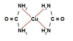 Representação da estrutura do complexo de cobre e ureia