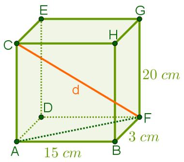 Exemplo: diagonal do bloco retangular