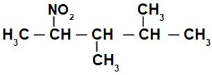 Fórmula estrutural de um nitrocomposto ramificado