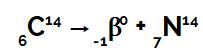 Equação química que representa o carbono emitindo radiação beta