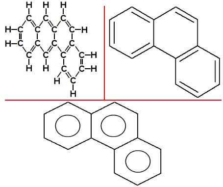 Fórmulas estruturais do Fenantreno