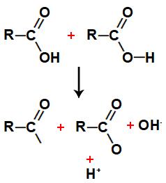 Quebra das ligações entre átomos nas moléculas de ácidos carboxílicos