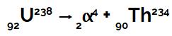 Equação química que representa o urânio emitindo radiação alfa