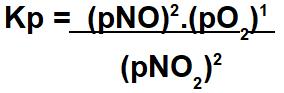 Expressão do Kp do equilíbrio gasoso.