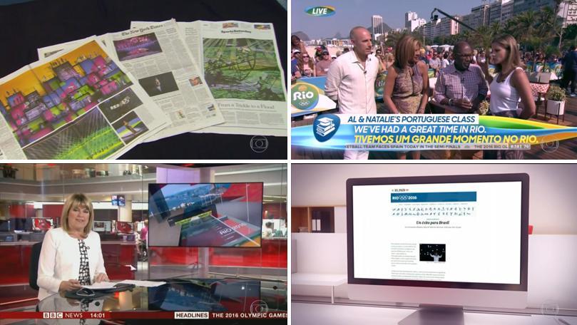 Reportagem do Jornal Nacional sobre a repercussão internacional da Rio 2016  (fonte  reprodução TV) 4749c1f237c9b