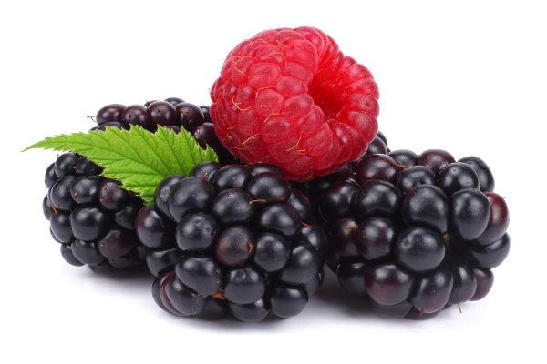 A amora e a framboesa são exemplos de frutas vermelhas.