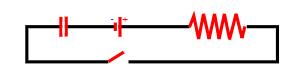 Circuito contendo gerador, capacitor, chave e resistor