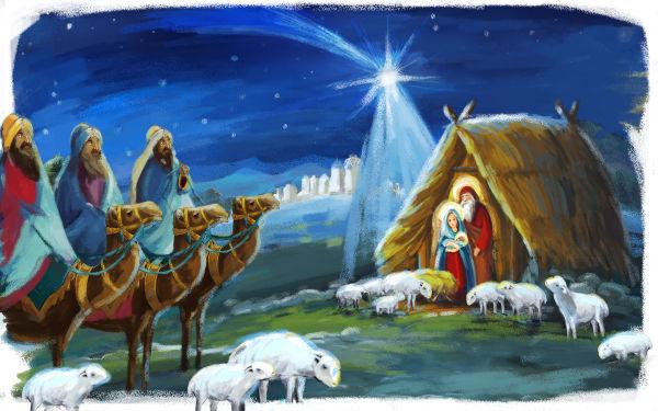Ilustração que representa a cena dos três magos visitando Jesus. Na imagem, é perceptível a Estrela de Belém.