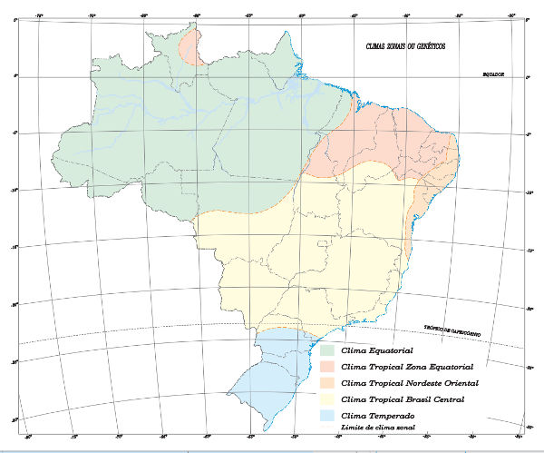 Representação cartográfica dos climas no Brasil segundo o Instituto Brasileiro de Geografia e Estatística.