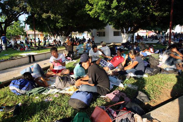 Refugiados hondurenhos que fugiram de seu país por conta da violência e da pobreza.*