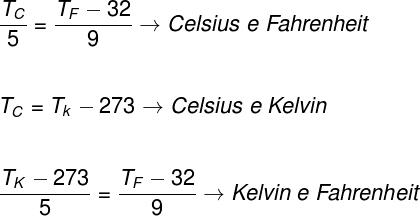 Fórmulas de escalas termométricas