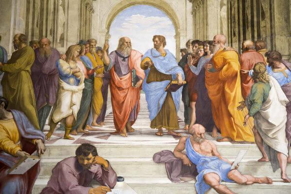 Platão e Aristóteles em Escola de Atenas