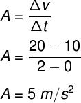 Cálculo da aceleração – exercício 1